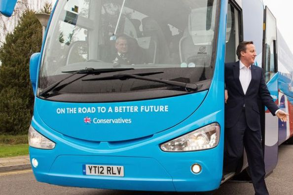 "David Cameron and a Tory campaign bus. Conservative ""Bus Trips"" would become an issue after the campaign, while Gavin Barwell spent much of his Croydon campaign trying to avoid mentioning the Prime Minister"