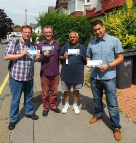 Some of the not-so-young Conservatives campaigining with the Tory Road Trip to Croydon in July 2014