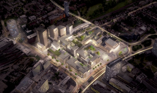 The council's latest images of how the College Green development might look, with a new college building and several tower blocks of flats, which Tony Newman says will generate £18m in profits to pay towards the Halls refurbishment