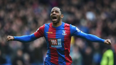 Jason Puncheon celebrates his first goal for 11 months, which gave Palace their first league win for four months