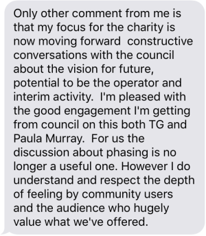 The text message which Kate Vennell sent to Inside Croydon last week, and which she allowed Save Fairfield supporters to believe was misquoted