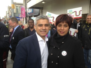 Labour candidate for Croydon and Sutton, Marina Ahmad, campaigning with Sadiq Khan