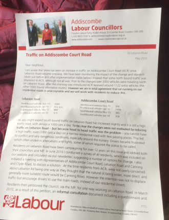 """The somewhat personal leaflet from """"Addiscombe councillors"""", signed by Mark Watson"""