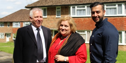 Councillor Alison Butler at the newly-revamped homes in Haling Grove, south Croydon, with Croydon Council empty homes officer Francis Burton (left) and Monarch Partnership commercial director Arjan Dosanjh (right).