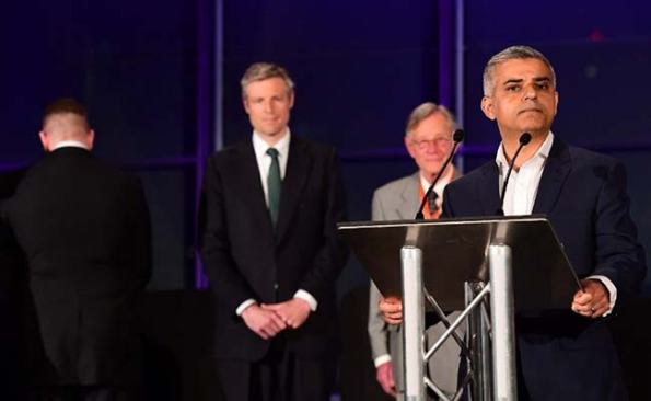 the Britain First numpty who turned his back as the new Mayor made his acceptance speech