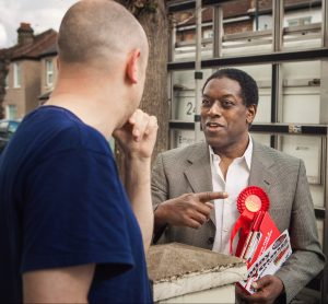 Callton Young, Croydon's newest councillor, speaking to residents before yesterday's vote. Photo: Lee Townsend