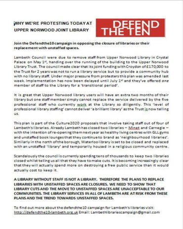 The Defend The Ten leaflet which outlines the many flaws in Lambeth's revised plan