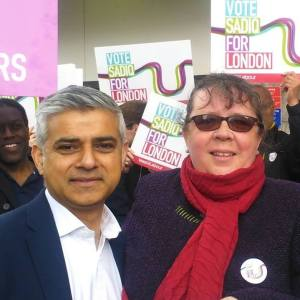 Charity manager Karen Jewitt out campaigning recently with Sadiq Khan
