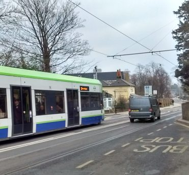 Drivers emerging from Lebanon Road too often cross the double white lines to pass stopped trams