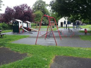 So last century: The playground in Grange Park, Old Coulsdon. Overdue for a revamp