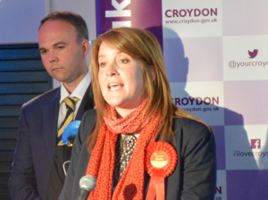 Sarah Jones giving her declaration speech last May. Will she take on Gavin Barwell again?