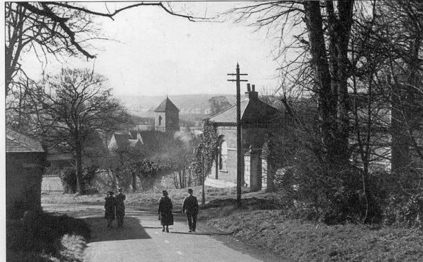 Spout Hill walking down towards Addington Village, Croydon, 1945