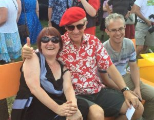 Robbie Gibson, right, at the opening of the Sensible Garden in South Norwood, with Captain Sensible