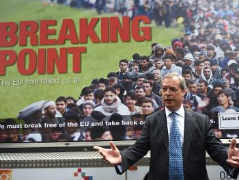 UKIP leader Nigel Farage fronting a controversial poster, with its overtones from the propaganda of Goebbels and which was withdrawn. But not before it influenced the Referendum outcome