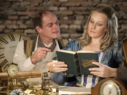 Colin Warnock and Megan Brown in the Mitre Players production of The Clockmaker's Daughter. Photo: Charles Marriott