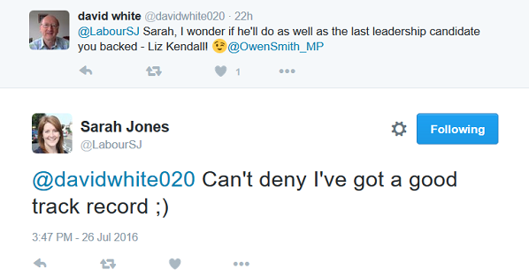 At least Sarah Jones admits she is consistently wrong in her support of candidates