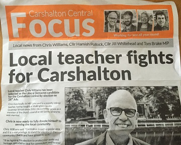 Not a word: Sutton LibDems have distribution thousands of double-sided A3 leaflets without a single word to explain why there is a by-election