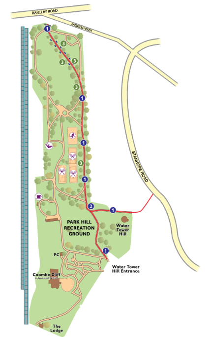Park Hill Park appears as if it was created to provide a transport corridor to link two parks of the borough. Yet at present, cyclists are banned