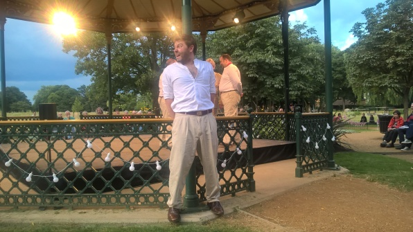 """Paul Grice as Benedick possesses the stage, and the audience"" in this CODA performance at the Wandle Park Bandstand"