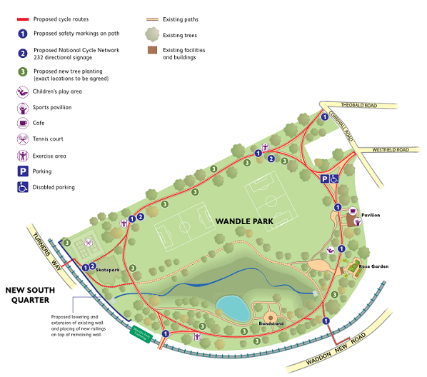 Cycle routes around the fringe of Lloyd Park and through Wandle Park, above, are also part of the consultation