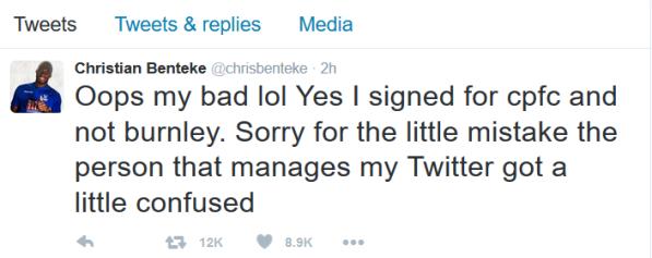 Benteke apology