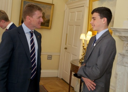 Astronaut Tim Peake chatting with Croydon schoolboy Michael Eagling at No10 Downing Street last month