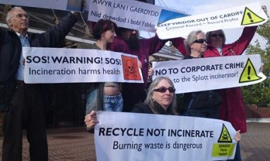 Demonstrators protest against the Splott incinerator: why should we expect anything different from Viridor at Beddington?