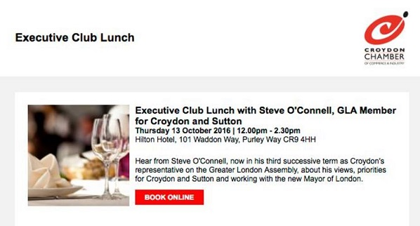 "The Croydon Chamber of Commerce lunch which is pimping out the ""influence"" of Steve O'Connell for £68 a ticket"