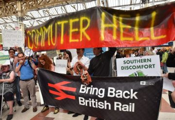Commuters protesting at their previous demonstration at Victoria,in July