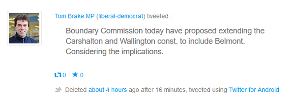 How Tom Brake used Twitter and broke the Boundary Commission's strict embargo last night