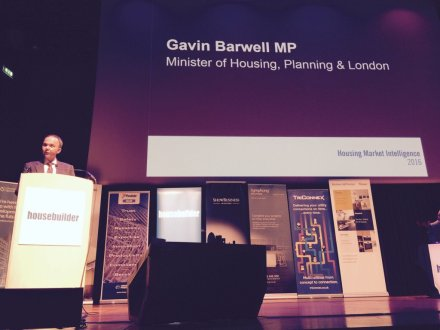 Housing minister Gavin Barwell in action on planning policy last week. He's still being allowed out onhis own...