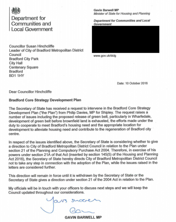 Housing Minister Gavin Barwell's letter to Bradford which has stopped the building of new homes. He might yet pull the same stunt in Croydon