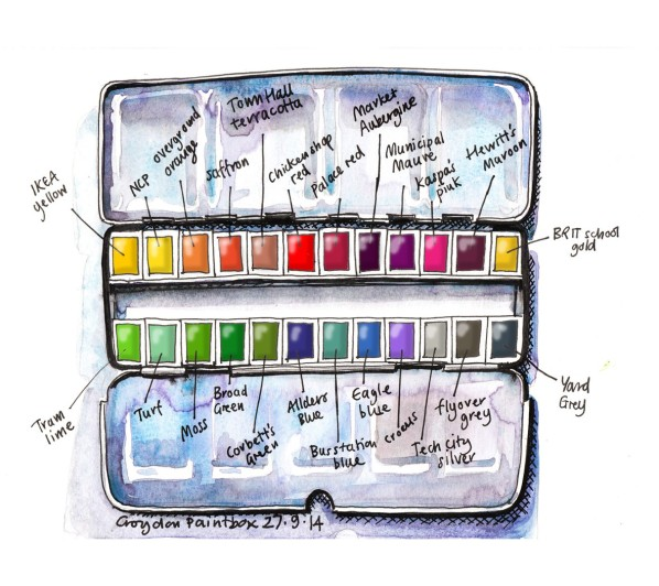 The Croydon Paintbox, the most popular piece of work in Lis Watkins's five years of her lineandwash online sketchbook. Copyright Lis Watkins