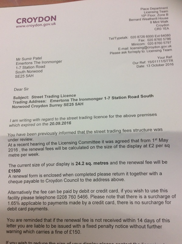 The letter Emertons received today. This is how Croydon Council encourages established businesses in the borough