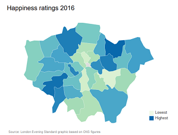 Cheer up Croydon: the London happiness map, from last week's Evening Standard