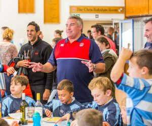 Jason Leonard speaking to the players and parents at Warlingham's mini-rugby festival on Sunday