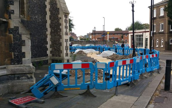 Skanska has left this unholy mess around Croydon Minster for more than a month