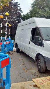 Skanska at work: badly parked vans and barriers dumped across roads and pathways are a familiar sight across Croydon