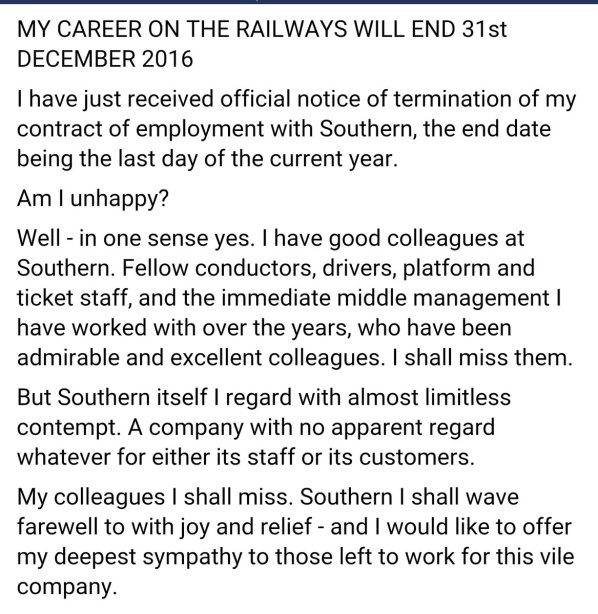 A message from a soon-to-be-redundant Southern guard, posted on social media overnight
