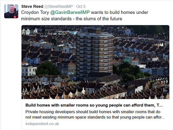 Awkward: Steve Reed OBE criticises the sort of Pocket developments advocated by Barwell, and being encouraged by his former colleagues in Lambeth