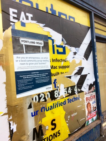 The cuncil's efforts to remove the fly-posted Boxpark poster on Portland Road has been timely, but not very well executed