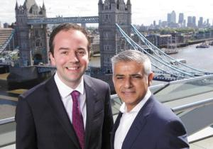 Towering aambition: James Murray, the deputy mayor for housing, with the man who appointed him, Sadiq Khan