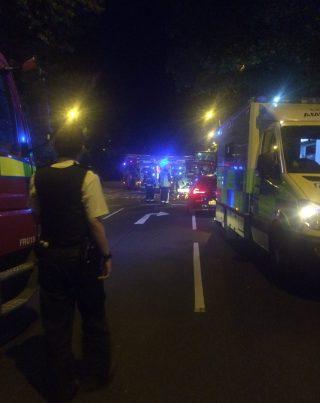 The emergency scene near the tram crash yesterday morning