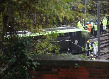 The tram came off the tracks near the tunnel and on a sharp bend in the tracks