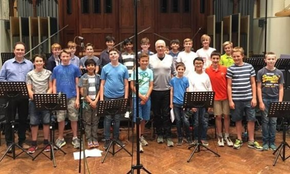 Trinity Boys' Choir at Air Studios pictured with James Newton Howard, having just finished the Fantastic Beasts recording session
