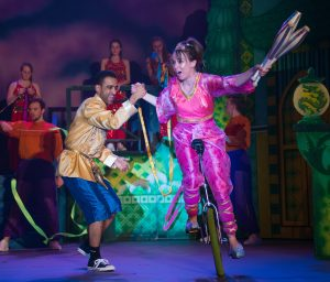 The sports centre theme even extends to this dynamic performance with Jarman and Jane Deane on the unicycle
