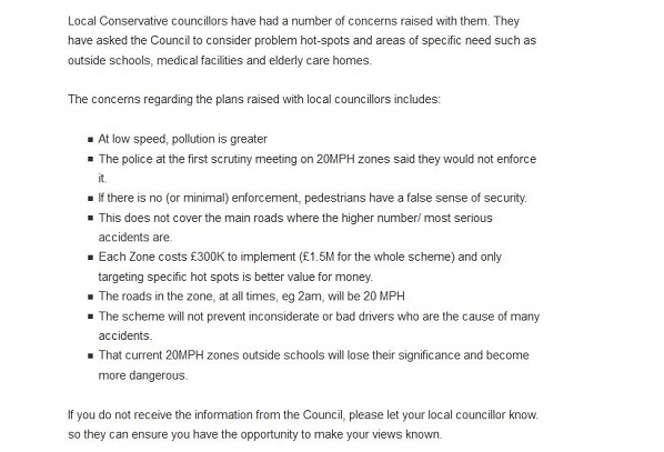 How Elizabeth Ash's CCC has published, without question, the latest Tory propaganda about 20mph zones, which has been drafted by car campaigner and CCC supporter Peter Morgan