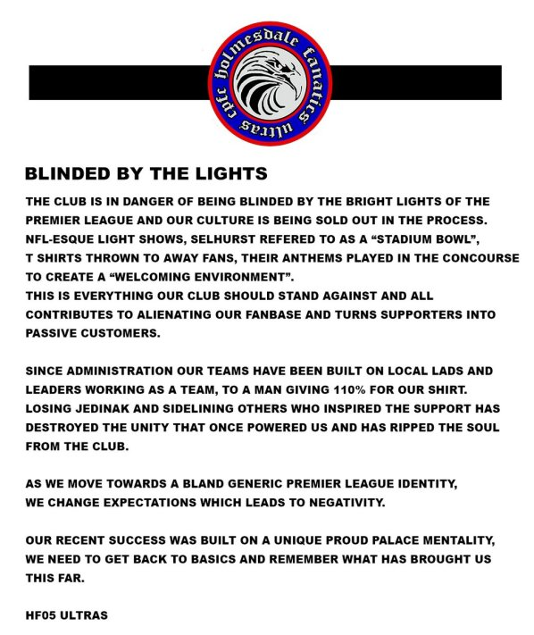 The full statement from the Holmesdale Fanatics