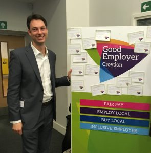 Jamie Audsley promoting the Good Employer scheme: 'Look, it's got slogans! And Post-it notes! And stuff!'
