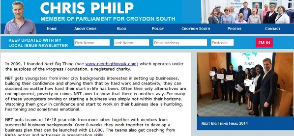 Croydon South MP Chris Philp's website has not yet caught up with the news that the Next Big Thing is being wound up